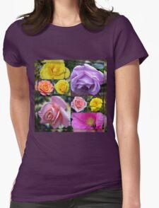 Just Roses Collage Womens Fitted T-Shirt
