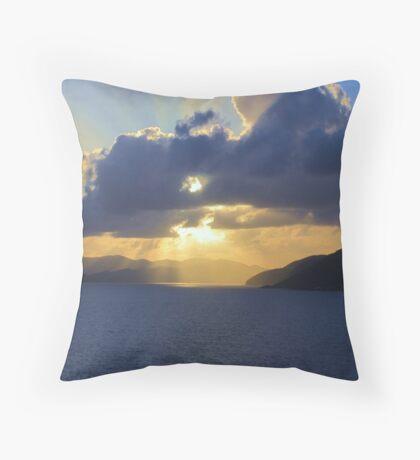 Sun shining through, Caribbean waters Throw Pillow