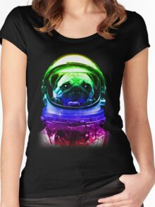 Pug-Stronaut Women's Fitted Scoop T-Shirt