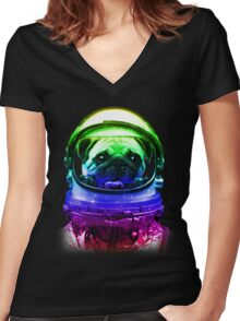 Pug-Stronaut Women's Fitted V-Neck T-Shirt