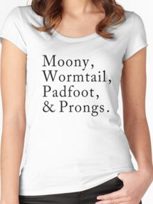 Mooney, Wormtain, Padfoot, & Prongs Women's Fitted Scoop T-Shirt