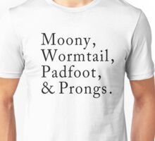 Mooney, Wormtain, Padfoot, & Prongs Unisex T-Shirt
