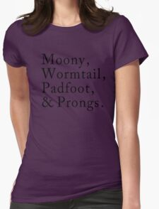 Mooney, Wormtain, Padfoot, & Prongs Womens Fitted T-Shirt