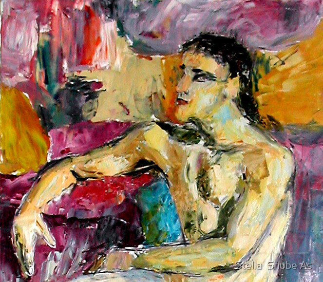 Man nude in jazz colors by Stella  Shube As