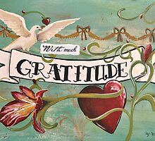 With much gratitude- a vintage tattoo inspired art print by jenniferrizzo