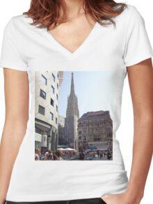 St. Stephen's Plaza, Vienna, Austria Women's Fitted V-Neck T-Shirt