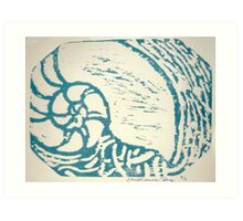 nautilus woodcut Art Print