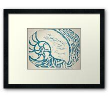 nautilus woodcut Framed Print