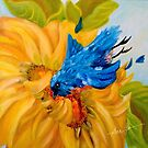 Dive Bombing the Sunflower, by Alma Lee by Alma Lee