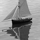 Model boat on a lake by MartynJames