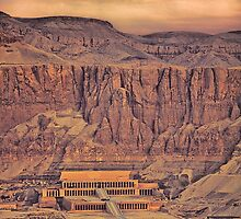 Egypt. Temple of Queen Hatshepsut. View from the Balloon. by vadim19