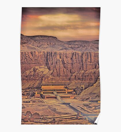 Egypt. Temple of Queen Hatshepsut. View from the Balloon. Poster