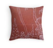 couple in a park in Madrid Throw Pillow