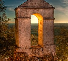 Sunset in Monfrague Castle by Gabor Pozsgai