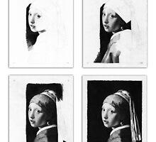 Vermeer - Pencil study 4 x 4 white by Jan Szymczuk
