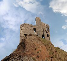 ballybunion castle ruin on a high layered cliff by morrbyte