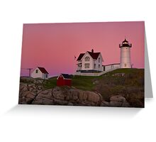 Nubble Lighthouse with Pink Sky, Sunset Greeting Card