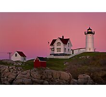 Nubble Lighthouse with Pink Sky, Sunset Photographic Print