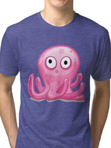 Cartoon Octopus Tri-blend T-Shirt