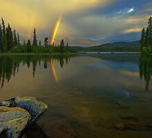 Pyramid Lake Double Rainbow by Doug Keech