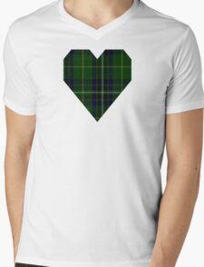 00417 Cornish Brewery, Green Tartan  Mens V-Neck T-Shirt