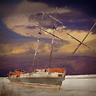 Ship Wreck in the ice by the shore of Lake Ontario by Randall Nyhof
