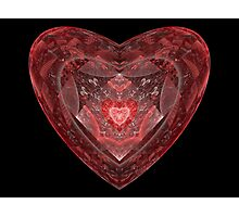 Ruby Glass Heart Photographic Print