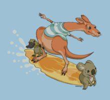 Surfing kangaroo and friends Kids Tee