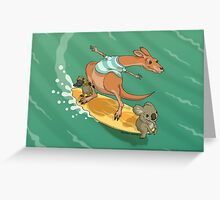 Surfing kangaroo and friends Greeting Card