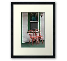 Two Orange Chairs Outside a Green Bordered Window, San Diego, CA Framed Print