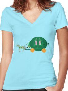 Watermelon Ball Women's Fitted V-Neck T-Shirt