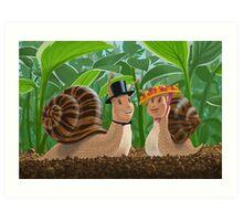 romantic snails on a date Art Print