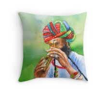Incredible India -- The amazing flutist Throw Pillow
