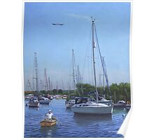 sailing boats at christchurch UK harbour Poster