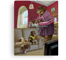 front room bear family with son playing computer game Canvas Print
