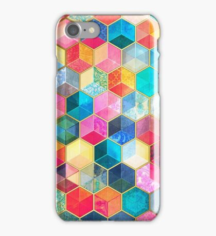 Crystal Bohemian Honeycomb Cubes - colorful hexagon pattern iPhone Case/Skin