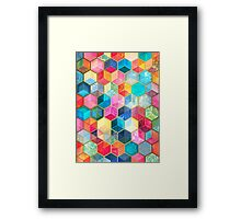 Crystal Bohemian Honeycomb Cubes - colorful hexagon pattern Framed Print