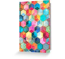 Crystal Bohemian Honeycomb Cubes - colorful hexagon pattern Greeting Card