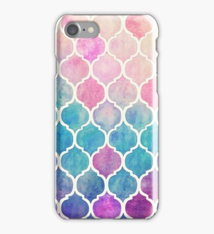 Rainbow Pastel Watercolor Moroccan Pattern iPhone Case/Skin