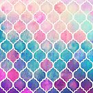 Rainbow Pastel Watercolor Moroccan Pattern by micklyn