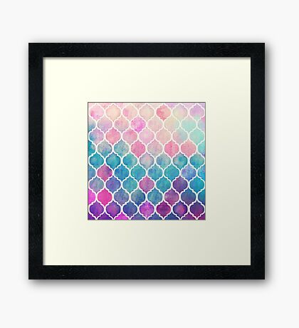 Rainbow Pastel Watercolor Moroccan Pattern Framed Print