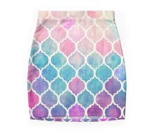 Rainbow Pastel Watercolor Moroccan Pattern Pencil Skirt