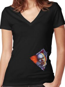 Creepy Clown (Thunderdome) Women's Fitted V-Neck T-Shirt