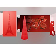 Love in Paris - the color red Photographic Print