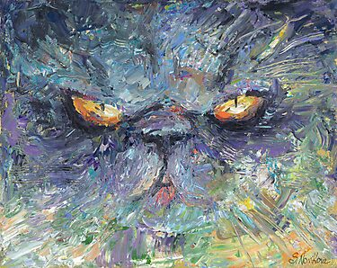 Intense Persian Cat painting Svetlana Novikova by Svetlana  Novikova