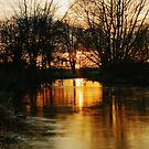 Sunset On The River Stour by Dave Godden