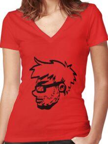 Action Bastard- Portrait (Black and White) Women's Fitted V-Neck T-Shirt