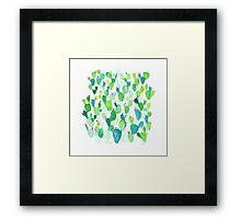 Green Watercolour Cacti Garden Framed Print