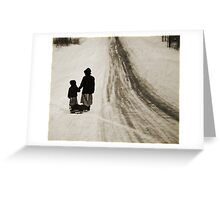 Amish Girls on the Road Greeting Card