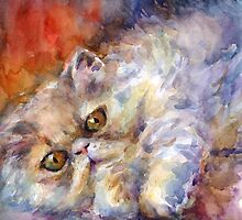 Watercolor Persian Cat painting Svetlana Novikova by Svetlana  Novikova